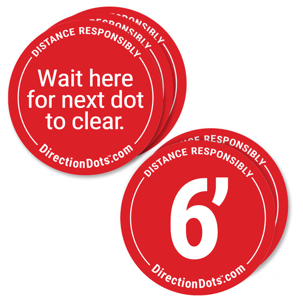 Direction Dots Social Distance Floor Decal 5 Pack