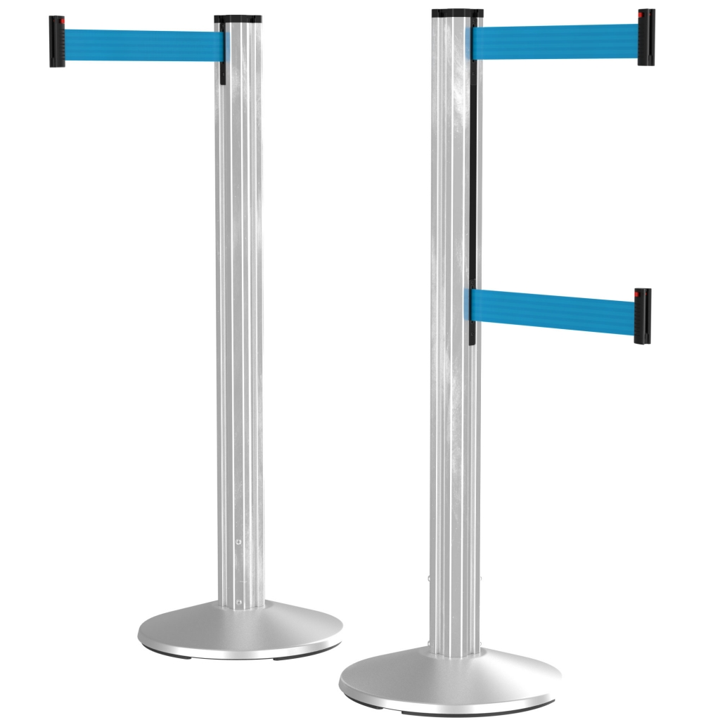 Grooved Retracta-Belt Retractable Belt Crowd Control Stanchion