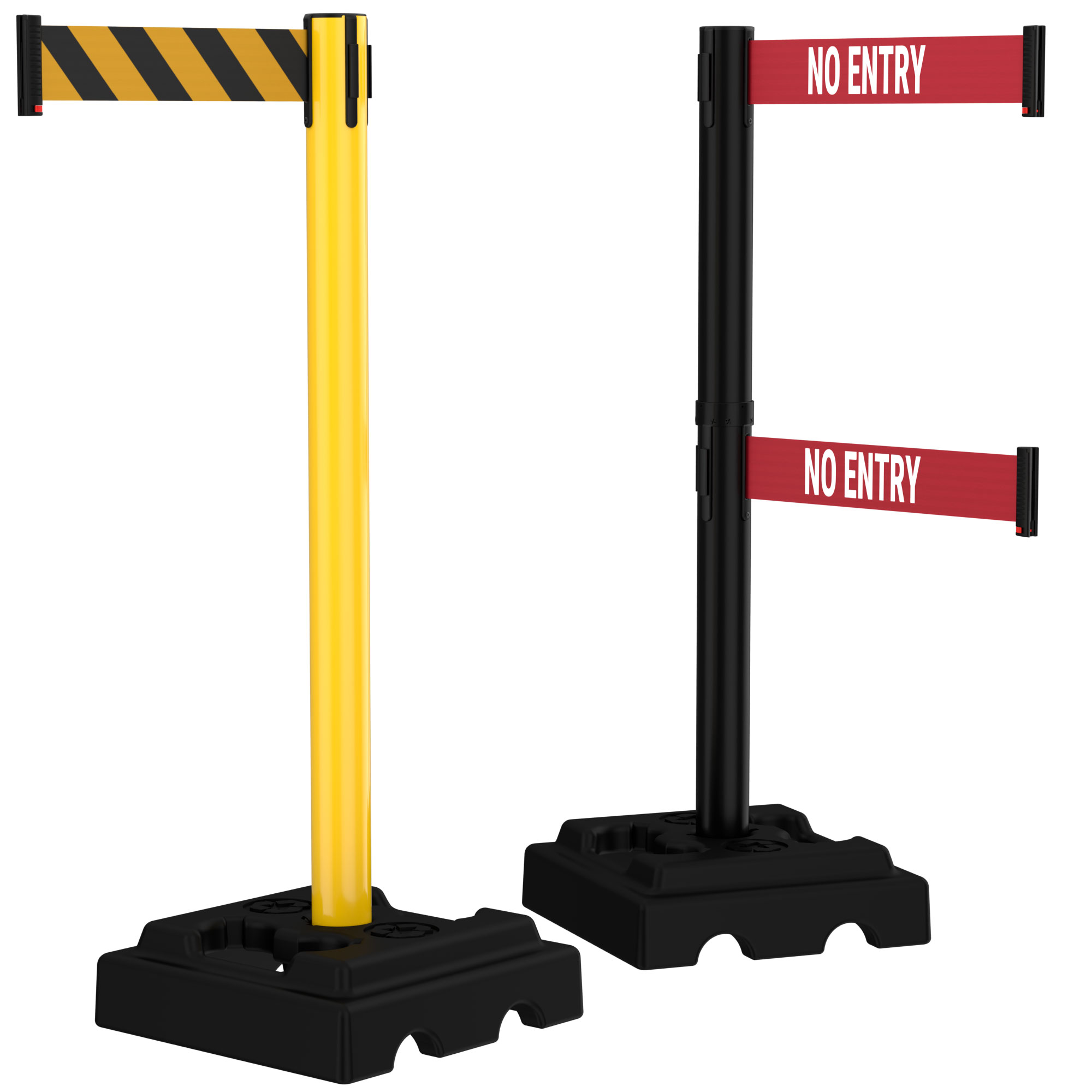 15' Dual Line Retractable Belt Outdoor Utility Crowd Control Safety Stanchions