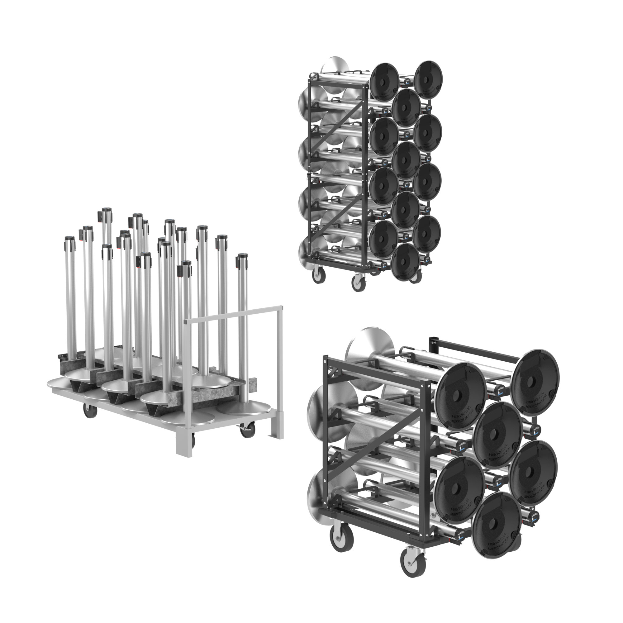 Retractable Belt Stanchion Storage Carts