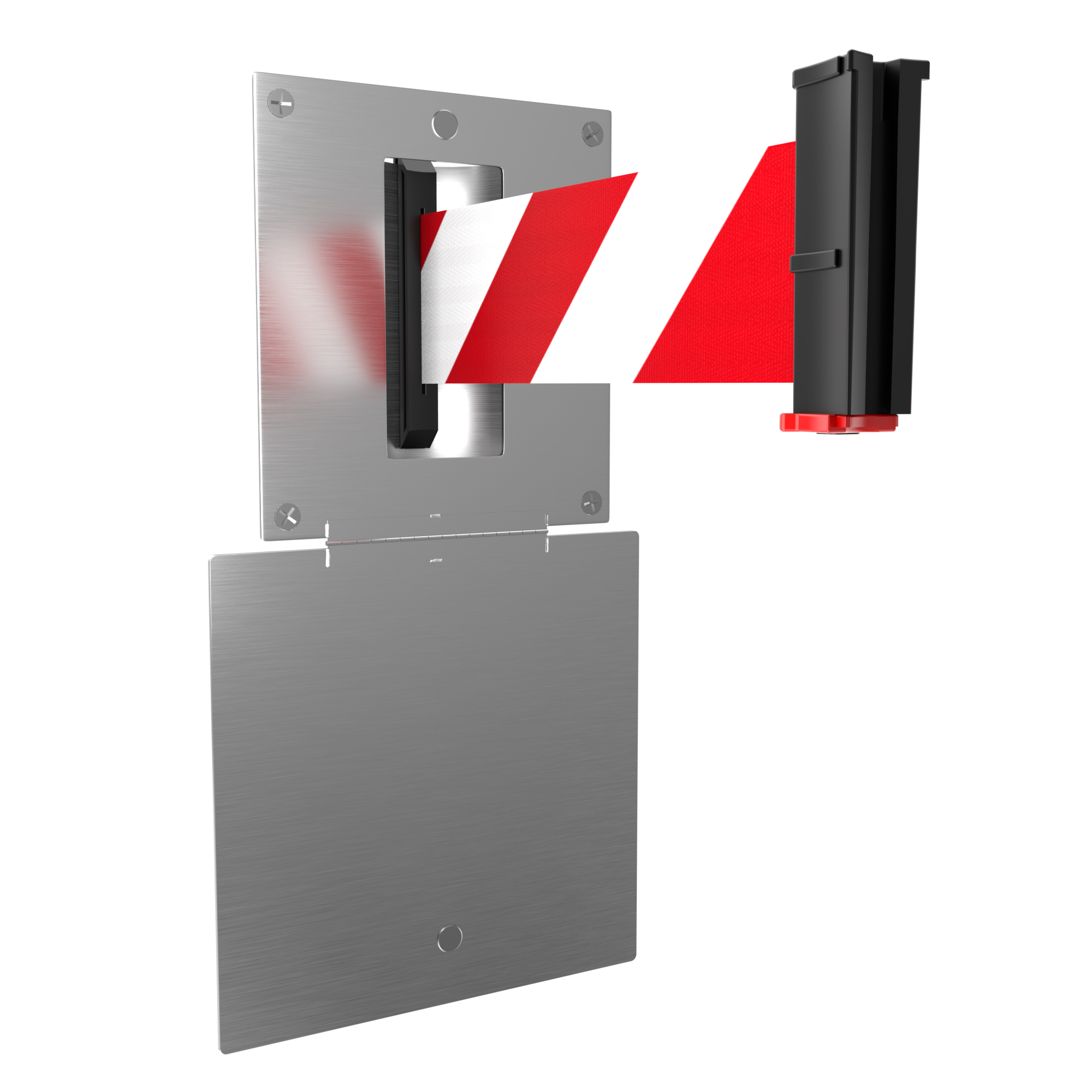 Recessed Wall Mount Holder with Door for Retractable Belt Wall Barriers